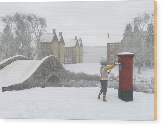 Winter Village With Postbox Wood Print