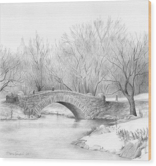 Winter Walk Wood Print by Diane Cardaci
