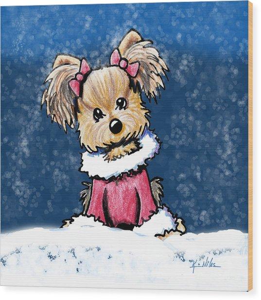 Winter Whimsy Yorkie Terrier Wood Print by Kim Niles