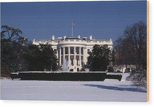 Winter White House  Wood Print