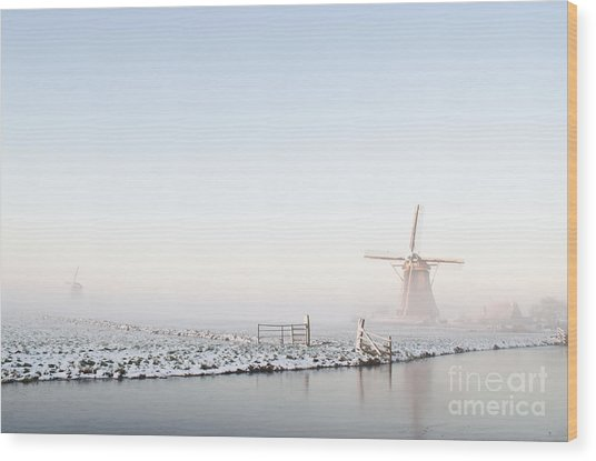 Winter Windmill Landscape In Holland Wood Print