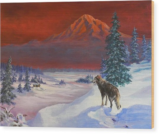 Winter Wolf  Wood Print