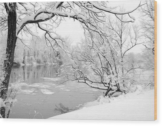 Winter Wonderland In Black And White Wood Print