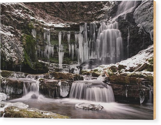 Winter Wonders At Scaleber Force Wood Print by Chris Frost
