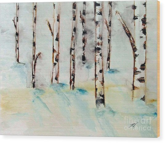 Winterbirch Wood Print