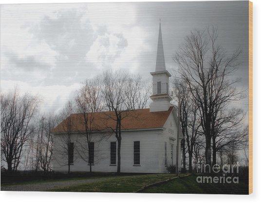 Winter's Church Wood Print