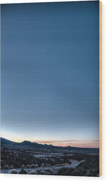 Winter's Dawn Over Santa Fe No.1 Wood Print
