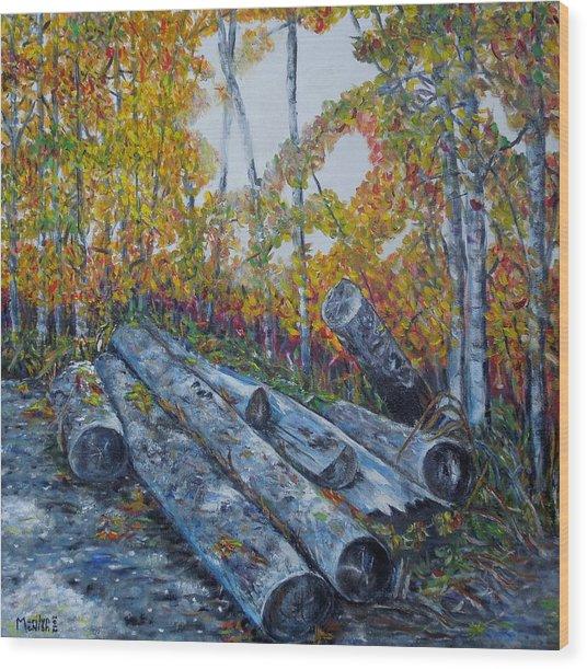 Winter's Firewood Wood Print