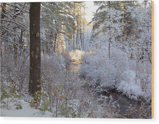 Winter's First Light Wood Print