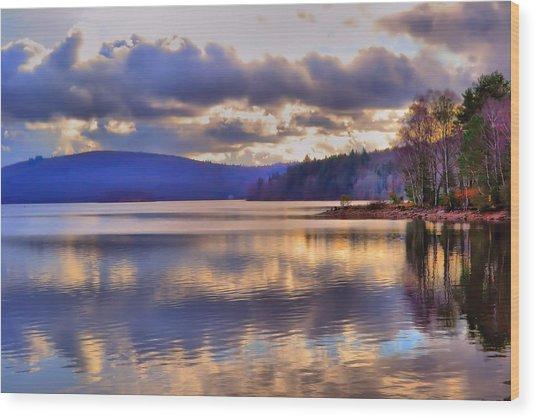 Winters Lake Wood Print by Dave Woodbridge