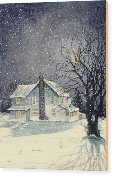Winter's Silent Night Wood Print