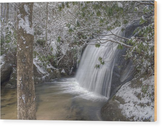 Wintery Frolictown Falls Wood Print by Stephen Gray