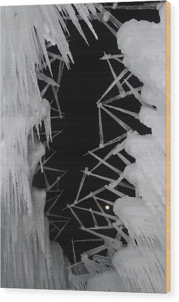 Wintery Ice Farming  Wood Print