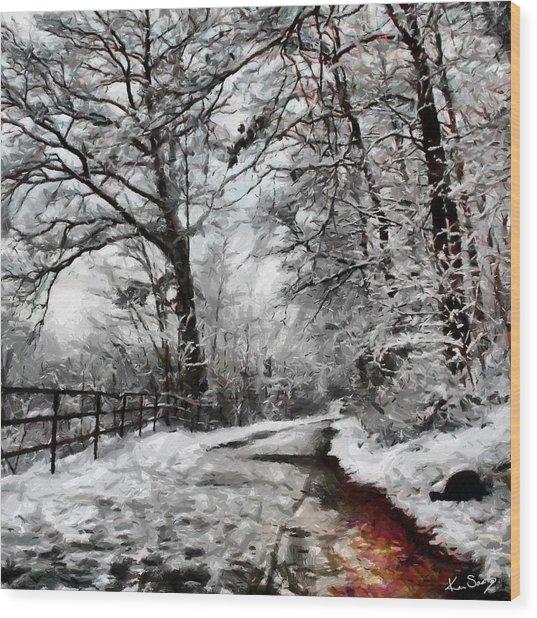 Wintery Road Wood Print