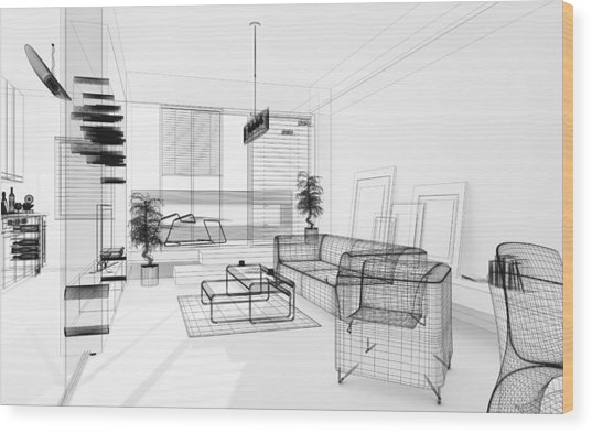 Wireframe 3d Modern Interior. Blueprint. Render Image. Architecture Abstract. Wood Print by PetrePlesea
