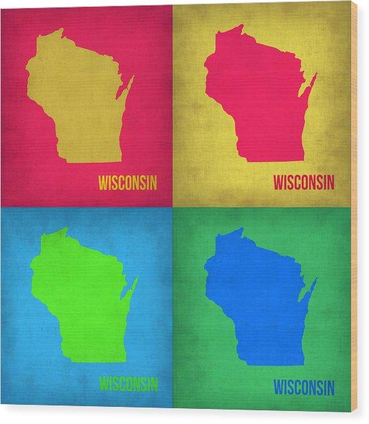 Wisconsin Pop Art Map 1 Wood Print