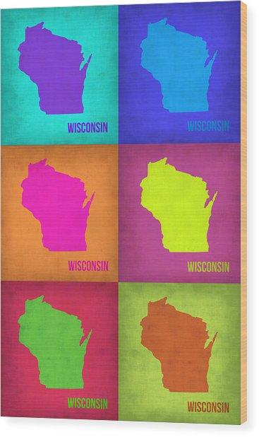 Wisconsin Pop Art Map 2 Wood Print