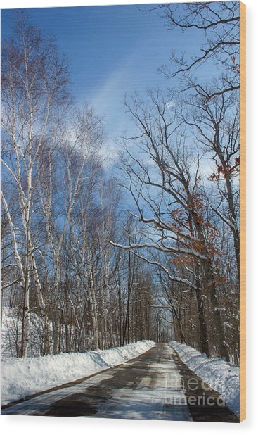 Wisconsin Winter Road Wood Print
