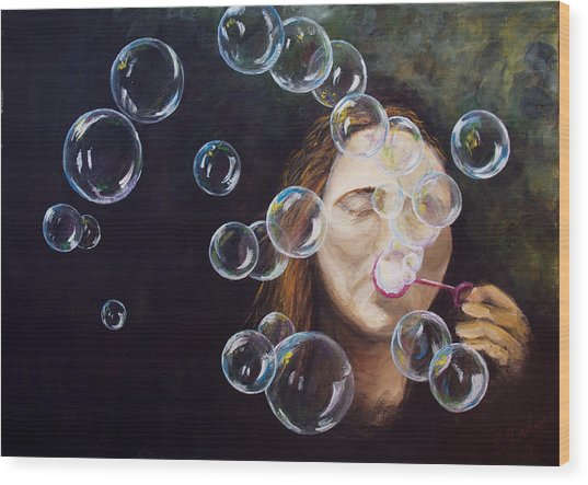 Wishing Bubbles Wood Print