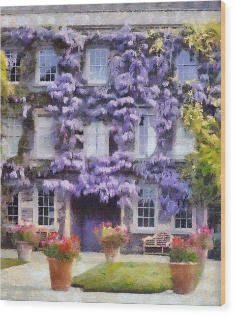 Wisteria Covered House Wood Print by Desmond De Jager