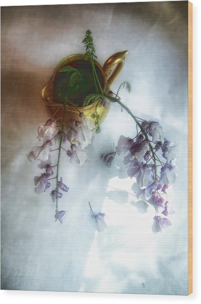 Wisteria In A Gold Pitcher Still Life Wood Print