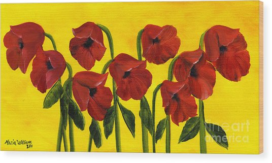 Wistful Poppies Wood Print by Maria Williams