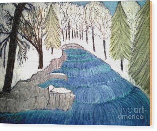 Witchata Falls Winter Wood Print by Neil Stuart Coffey