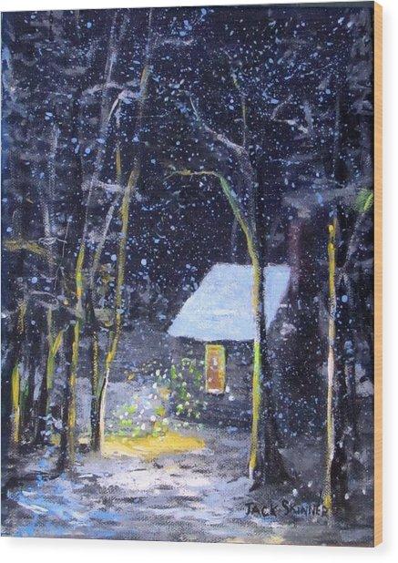 Wintery  Night At Thoreau's Cove Wood Print