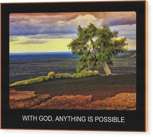 With God Wood Print