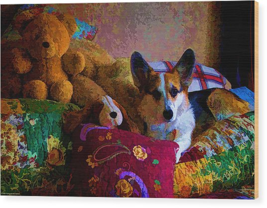With His Friends On The Bed Wood Print