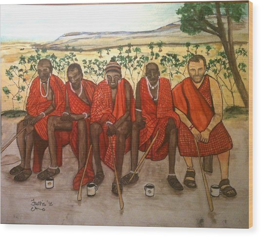 With The Masai Wood Print