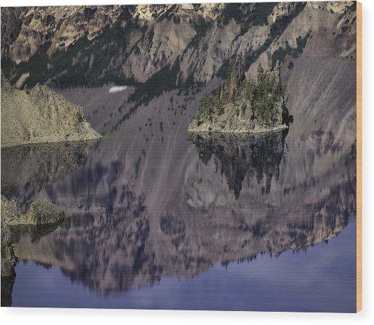 Wizard Island At Crater Lake Wood Print