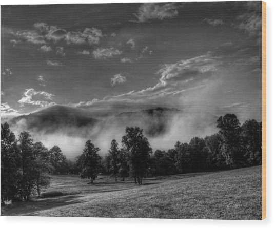 Wnc Morning In Black And White Wood Print