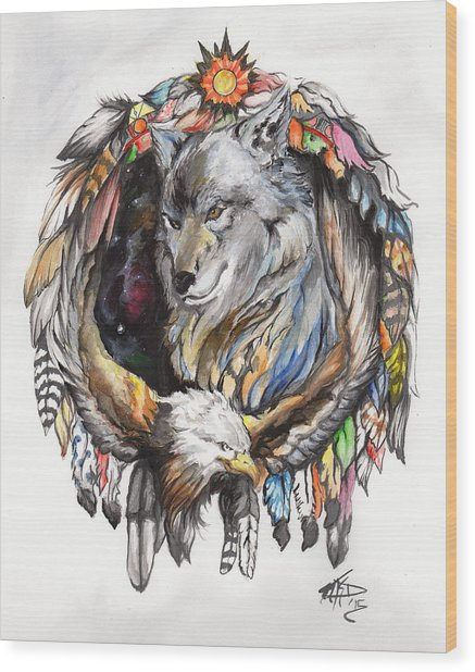 Wolf And Eagle Wood Print by Miguel Karlo Dominado