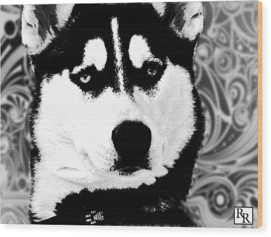 Wolf Dog Black  White B W Wood Print