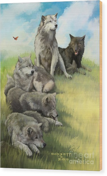 Wolf Gathering Lazy Wood Print