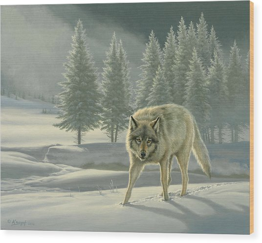 Wolf In Fog    Wood Print