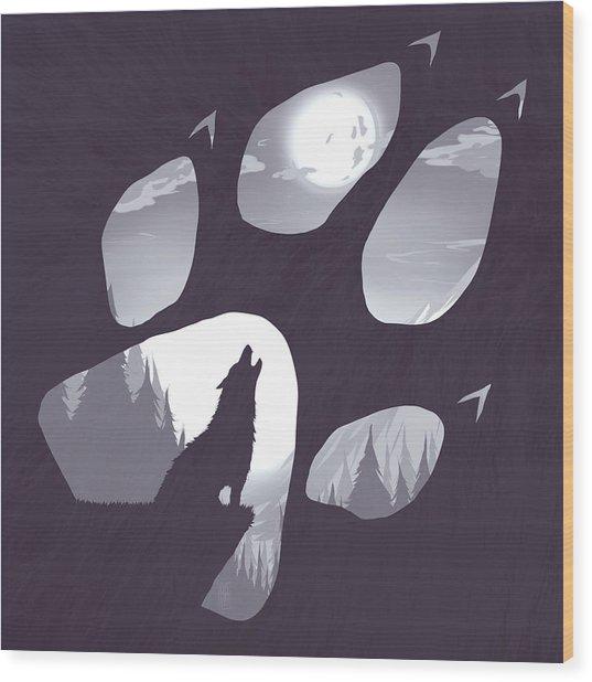 Wolf Paw Wood Print