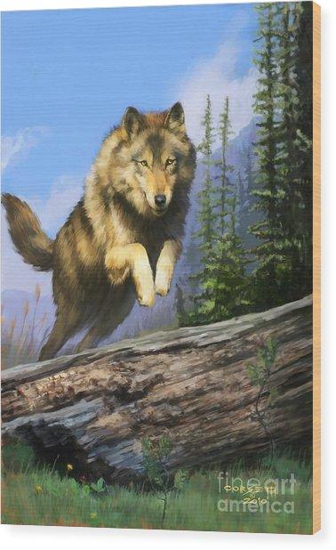 Wolf Run Wood Print