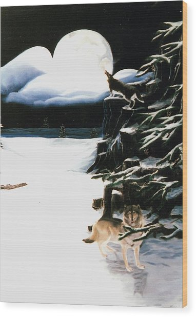Wolves In The Snow Wood Print