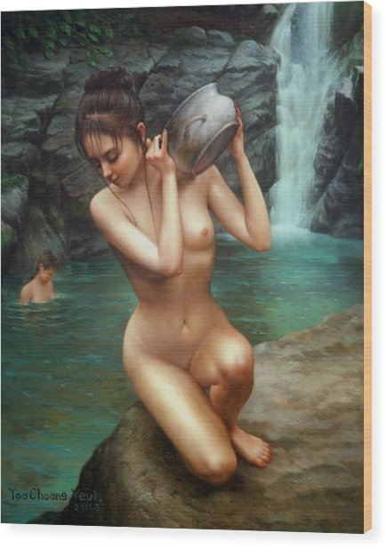 Woman Bathing In The Falls Wood Print