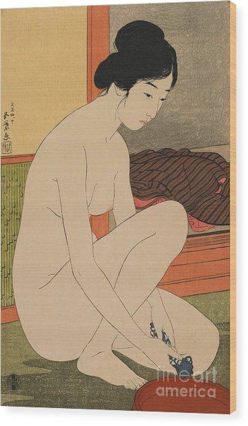 Woman Bathing Taisho Era Wood Print