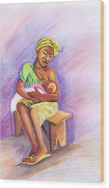 Woman Breastfeeding Bay In Rwanda Wood Print