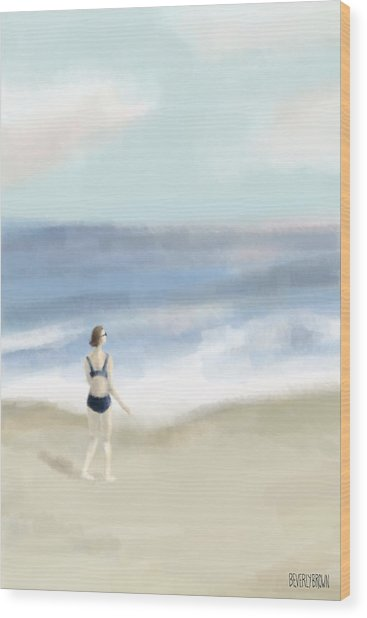 Woman By The Sea Wood Print