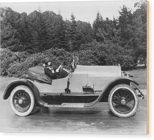 Woman Driving A Stutz Roadster Wood Print