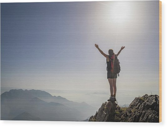 Woman Exulting On A Mountaintop Wood Print by Buena Vista Images