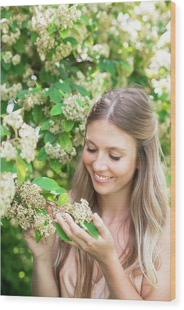 Woman Holding White Flowers Wood Print by Ian Hooton/science Photo Library