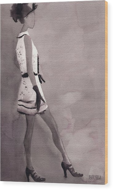 Woman In A Black And White Mini Dress Fashion Illustration Art Print Wood Print