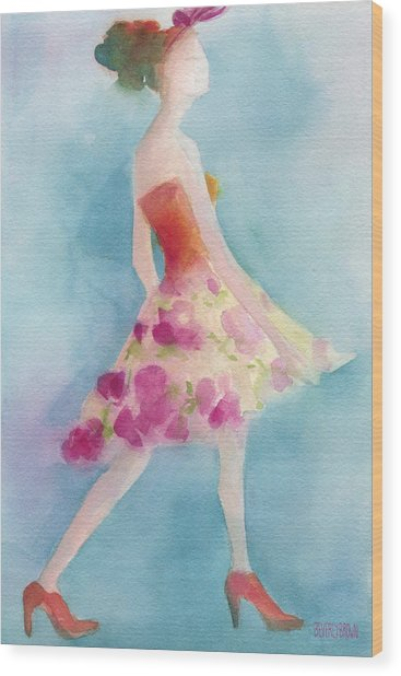 Woman In A Pink Flowered Skirt Fashion Illustration Art Print Wood Print