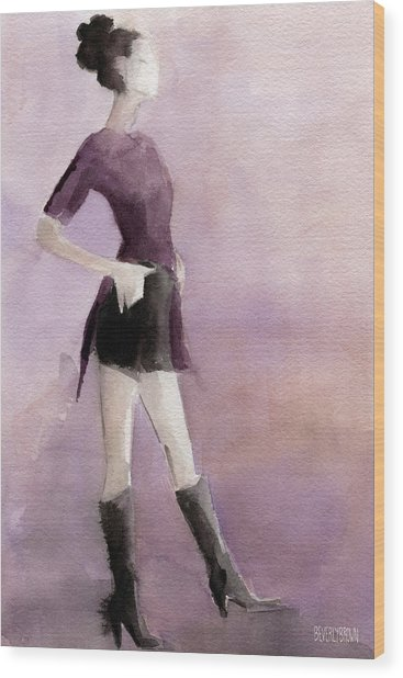 Woman In A Plum Colored Shirt Fashion Illustration Art Print Wood Print